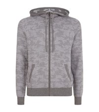 Michael Kors Textured Cotton Camo Hoodie Male Grey