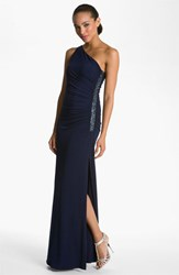 Women's Laundry By Shelli Segal Beaded Panel One Shoulder Jersey Gown Midnight