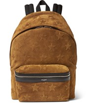 Saint Laurent Star Appliqued Suede Backpack Tan