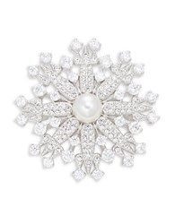 Nadri Crystal Pave And Faux Pearl Snowflake Pin Silver
