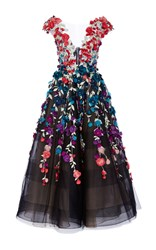 Marchesa Floral Embroidered Tea Length Gown Black