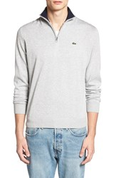Lacoste Men's Quarter Zip Sweater Silver Chine