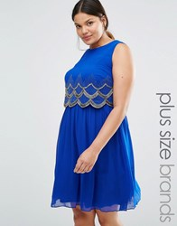 Lovedrobe Luxe Scallop Embellished Sleeveless Skater Dress Blue