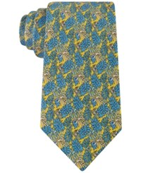 Tommy Hilfiger Men's Palm Leaves And Turtles Classic Tie Yellow
