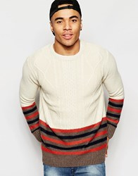 Brave Soul Block Cable Knit Jumper Beige