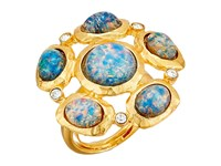 Kenneth Jay Lane Satin Gold Crystal Blue Opal Cluster Ring Blue Opal Ring