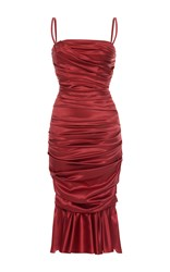 Dolce And Gabbana Ruched Cocktail Dress Red