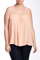 Eyeshadow Lace Yoke Tank Plus Size Pink