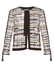 Oscar De La Renta Collarless Tweed Jacket Multi
