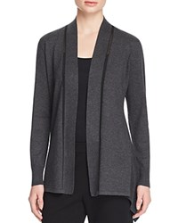 Magaschoni Mesh Detail Textured Cardigan Charcoal