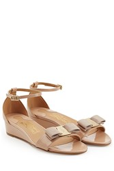Salvatore Ferragamo Patent Leather Wedge Sandals Rose