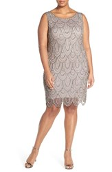 Pisarro Nights Plus Size Women's Beaded Sheath Dress Light Silver