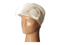 Scala Sinamay Cloche With Bow And Feathers Trim Ivory Caps White