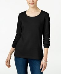 Karen Scott Long Sleeve Scoop Neck Top Only At Macy's Deep Black