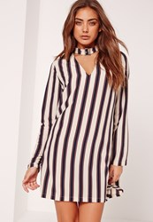 Missguided Stripe Buckle Choker Neck Shift Dress Cream Monochrome