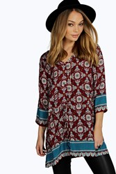 Boohoo Border Print Paisley Button Through Blouse Red
