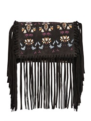 Isabel Marant Shiloh Embroidered Fringed Suede Clutch