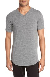 Goodlife Men's Scalloped Hem V Neck T Shirt Heather Grey