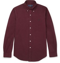 Polo Ralph Lauren Poo Raph Auren Sim Fit Button Down Coar Cotton Shirt Burgundy