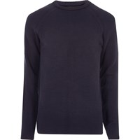 River Island Mensnavy Blue Textured Crew Neck Sweater