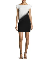 Halston Embellished Colorblock Mini Dress Bone Black Ivory Black