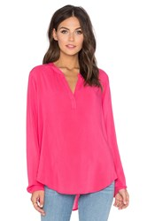 Velvet By Graham And Spencer Rosie Rayon Challis Long Sleeve Top Pink