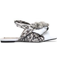 No 21 Bow Leather And Snakeskin Slippers White Oth