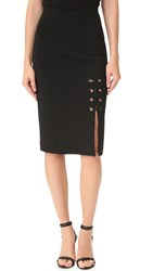 Yigal Azrouel Eyelet Lace Detail Skirt Black
