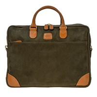 Bric's Life Laptop Briefcase 2 Compartments Olive Tan