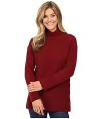 Vince Camuto Long Sleeve Turtleneck Ribbed Sweater Malbec Red Women's Sweater Burgundy