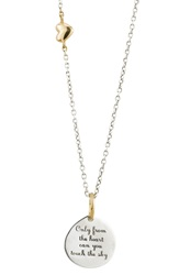 Baroni '...Touch The Sky' Engraved Pendant Necklace Silver Gold