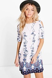 Boohoo Paisley Boarded Cold Shoulder Shift Dress White