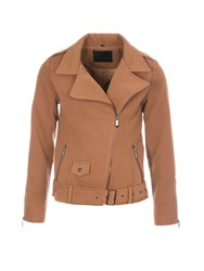 Lavand Jersey Biker Jacket Brown