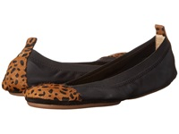Yosi Samra Samantha Soft Leather Fold Up Flat W Ponyhair Captoe Black Spotted Leopard Women's Shoes