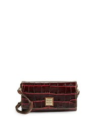 Dooney And Bourke Crocodile Embossed Leather Crossbody Bordeaux