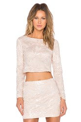 Endless Rose Sequin Floral Top Peach