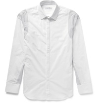 Tim Coppens Slim Fit Panelled Cotton Poplin Shirt White