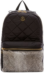 Moncler Black Quilted Fur Gigi Zano Backpack