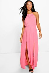 Boohoo High Neck Split Front Maxi Dress Coral