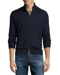Stand Collar Solid Zip Front Cardigan Navy
