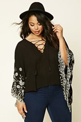 Forever 21 Plus Size Embroidered Top Black Ivory