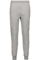 Alexander Wang T By Frayed Cotton Blend French Terry Tapered Pants Stone