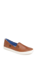 Keds 'Crash Back' Leather Slip On Women Cognac
