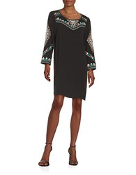 Ella Moss Embroidered Crepe Shift Dress