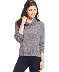 One Clothing Juniors' Space Dyed Rib Knit Cowl Neck Ivory Charcoal