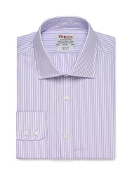 T.M.Lewin Stripe Slim Fit Long Sleeve Classic Collar Formal Lilac