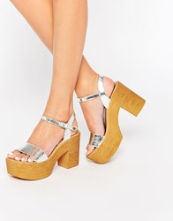 Asos Tight Rope Chunky Sandals Silver