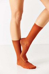 Urban Outfitters Basic Ribbed Trouser Sock Bright Orange