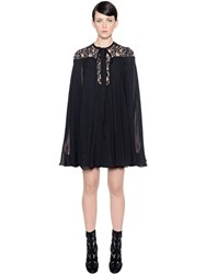 Elie Saab Butterfly Silk Georgette And Lace Dress