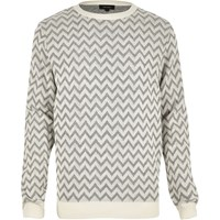 River Island Mens Grey Zig Zag Knitted Jumper